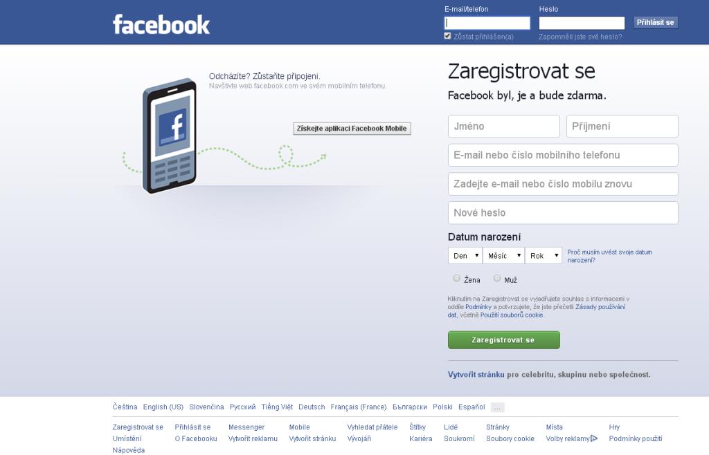 Facebook - Přihlašovací stránka