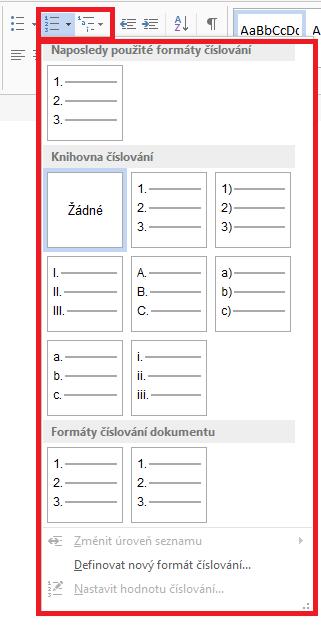 Word - Úpravy číslování