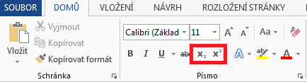 Word - Horní a Dolní index