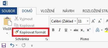 Word - Kopírovat formát