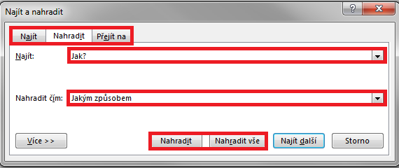 Word - Nahradit