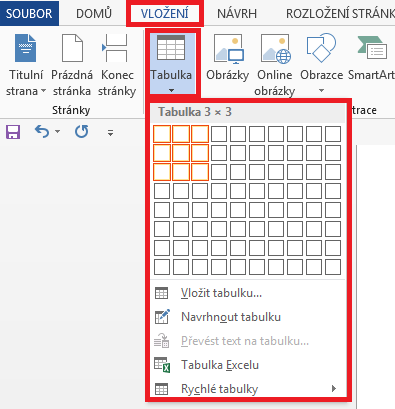 Word - Tvorba a úpravy tabulek